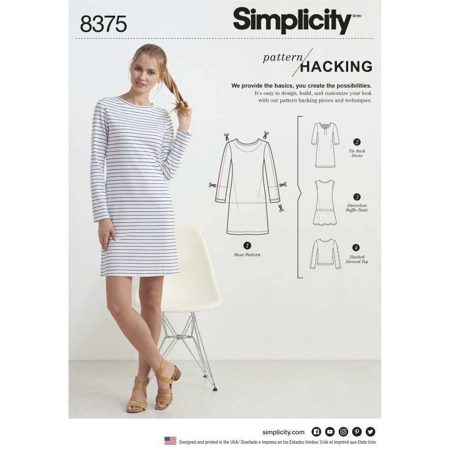 Simplicity Sewing Pattern 8375-A - Knit Dress or Top with Multiple Pattern  Pieces for Design Hacking