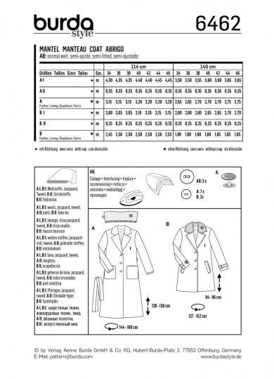 Burda Style Sewing Pattern - 6462 - Misses's Fur Collar Coat