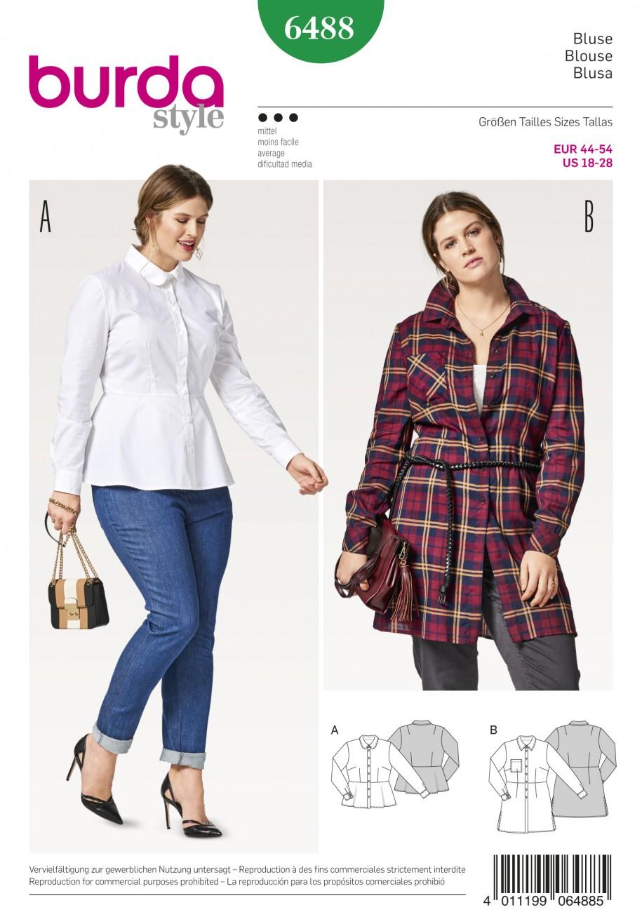 Burda Style Sewing Pattern - 6488 - Plus Size Blouses | Sewing ...