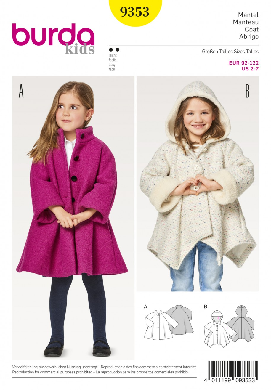 Burda Style Sewing Pattern - 9353 - Child\'s A-Line Coat | Sewing ...