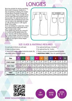 Tadah Sewing Pattern - Longies Shorts