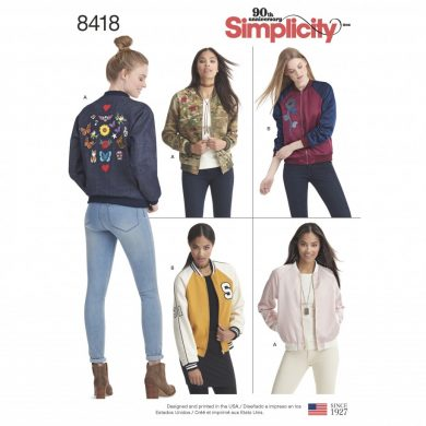 Simplicity Sewing Pattern 8418-R5 -Lined Bomber Jacket with Fabric & Trim Variations