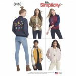 Simplicity Sewing Pattern 8418-D5 -Lined Bomber Jacket with Fabric & Trim Variations