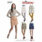 Simplicity Sewing Pattern 8420-R5 -Skirts in Two Lengths with Pockets & Trim Variations