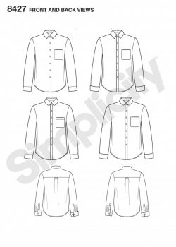 Simplicity Sewing Pattern 8427-BB -Fitted Shirt with Collar & Cuff Variations by Mimi G
