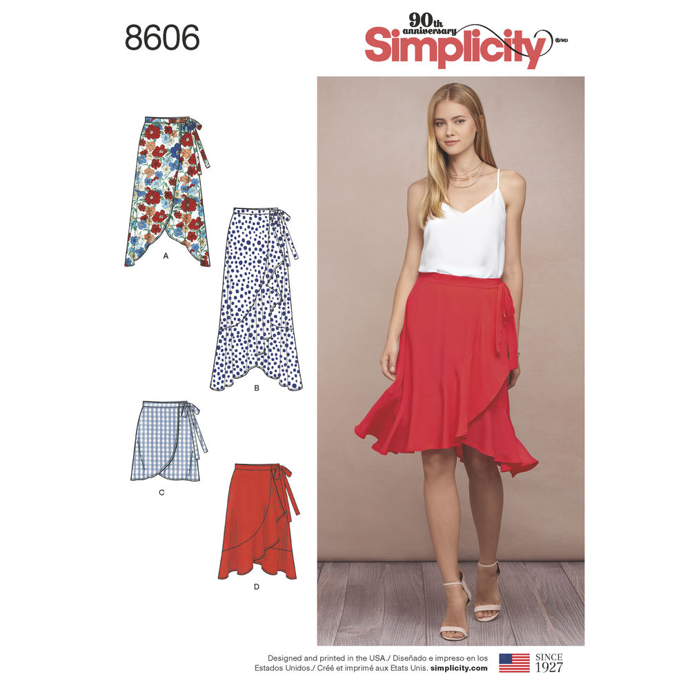 Simplicity Sewing Pattern 8606 R5 Misses Wrap Skirt In