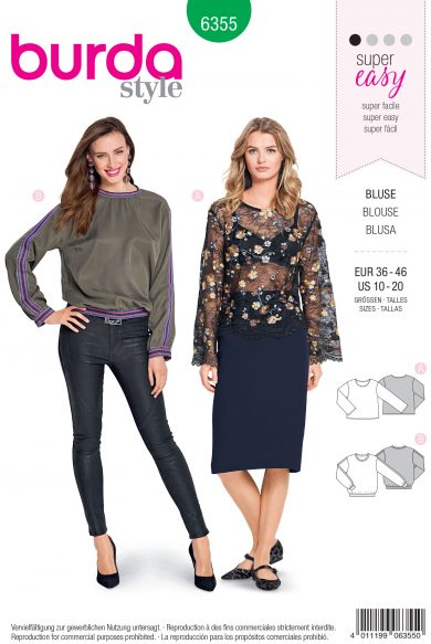 Burda Style Sewing Pattern - 6355 - Misses' Shirt Blouse - Size 10-20