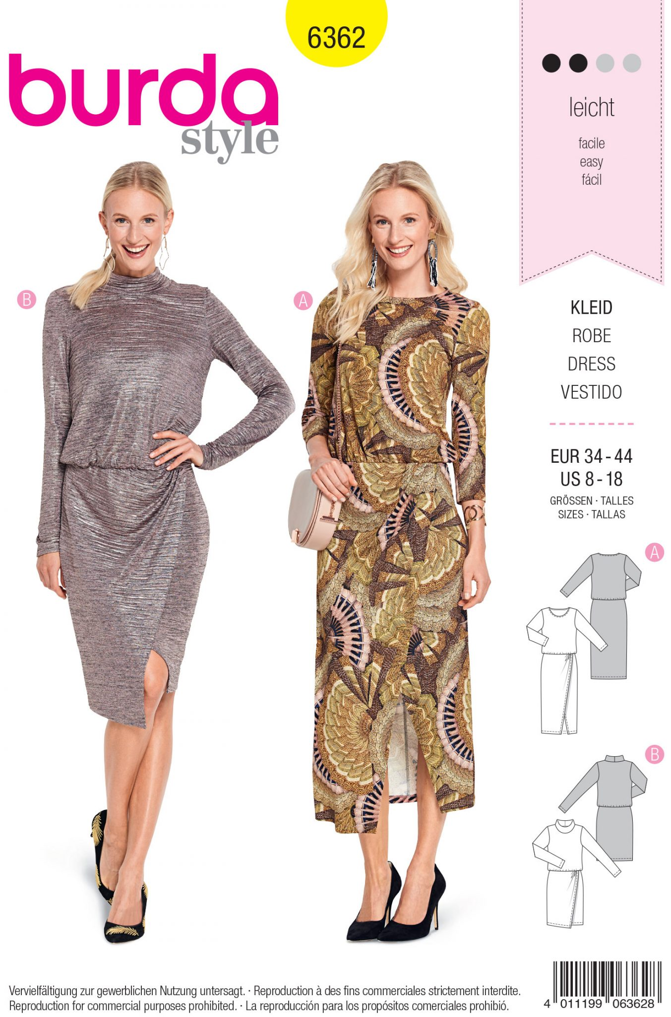 b4f00087c124 Burda Style Sewing Pattern - 6362 - Misses' Jersey Dress - Size 8-18 ...