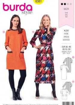 Burda Style Sewing Pattern - 6381 - Misses' Retro Dress - Size 10-20
