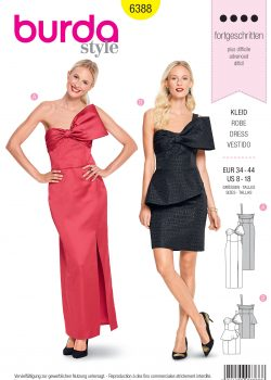 Burda Style Sewing Pattern - 6388 - Misses' Dress with Bow - Size 8-18
