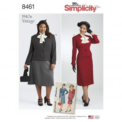 Simplicity Sewing Pattern 8461-AA - Misses'/Women's Vintage Two Piece Suit and Dickey