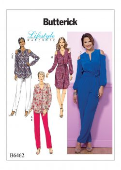Butterick Sewing Pattern - Misses' Cold-Shoulder Top, Tunic, Dress and Jumpsuit with Sash, and Pull-On Pants - B6462-E5