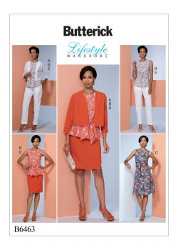 Butterick Sewing Pattern - Misses' Dolman-Sleeve Jacket, Attached-Sash Top and Dress, Pencil Skirt, and Pants - B6463-E5