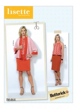 Butterick Sewing Pattern - Misses' Banded Jacket, Notch-Neck Top and Pencil Skirts - B6464-E5