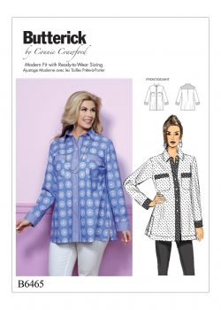 Butterick Sewing Pattern - Misses'/Women's Button-Down Shirt with Side Slits and Bust Pockets - B6465-WOMAN