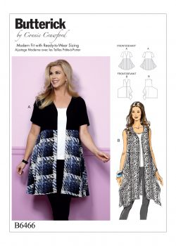 Butterick Sewing Pattern - Misses'/Women's Open-Front, Flared Tunics - B6466-MISS